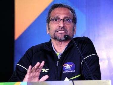Delhi Waveriders coach Cedric D'Souza during a press conference. Getty