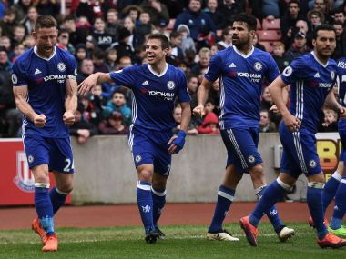 Gary Cahill scored a late winner for Chelsea against Stoke City to send them 13 points clear at the top of the Premier League table. AFP