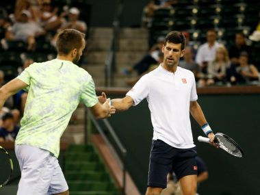 Novak Djokovic and Viktor Troicki defeated Rohan Bopanna and Pablo Cuevas in the first round. Image courtesy: Facebook/@BNPPARIBASOPEN