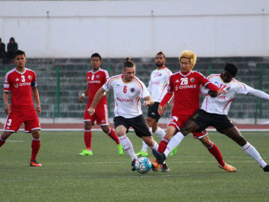 Action between East Bengal and Shillong Lajong FC. Image courtesy: Twitter/@ILeagueOfficial