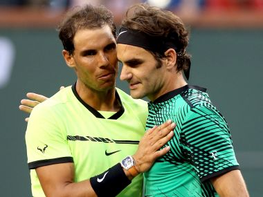 Rafael Nadal (left) congratulates Roger Federer after their match at the Indian Wells Masters tournament. Getty Images
