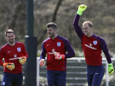 Joe Hart (R) is England's most capped player in the current squad. AFP