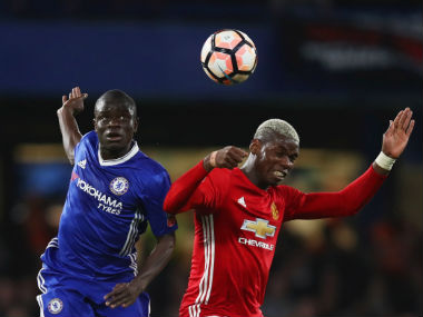 N'Golo Kante and Paul Pogba in action during the FA Cup quarter-final. Getty Images