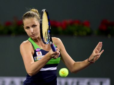 Karolina Pliskova plays a forehand in her match against Monica Puig at Indian Wells. Getty