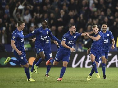 Leicester City players celebrate Marc Albrighton's (second from right) goal against Sevilla on Tuesday. AFP