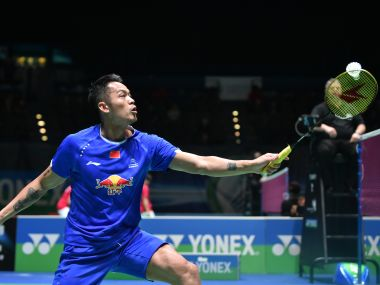 Lin Dan of China in action during the All England Open Badminton Championships. Getty Images