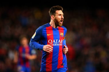 Lionel Messi of Barcelona celebrates after scoring against Celta Vigo at the Camp Nou on Saturday. Getty Images