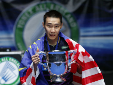 Lee Chong Wei celebrates after winning the All England Open title for the fourth time. Reuters