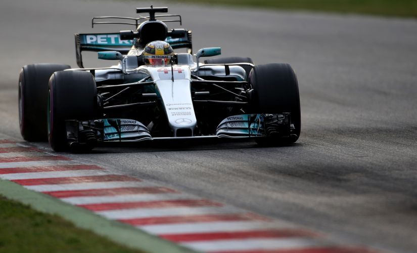 Lewis Hamilton driving the Mercedes AMG Petronas F1 Team Mercedes F1 WO8 on track during winter testing. Getty