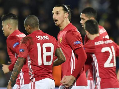 Manchester United players celebrate Zlatan Ibrahimovic's (centre) goal against Rostov. AFP