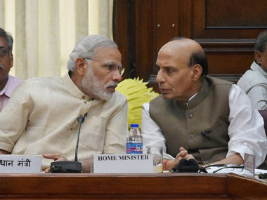 Rajnath Singh with Narendra Modi. PTI