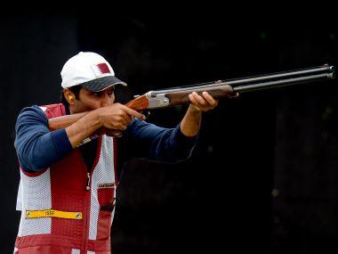 Nasser Al-Attiya in action during the Men's Skeet Shooting final at the London Olympics. Getty