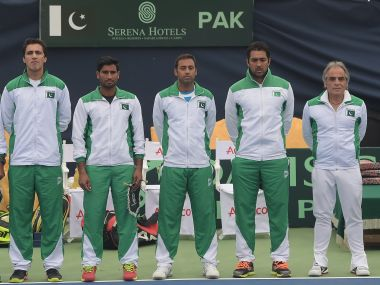 The Davis Cup team of Pakistan. AFP