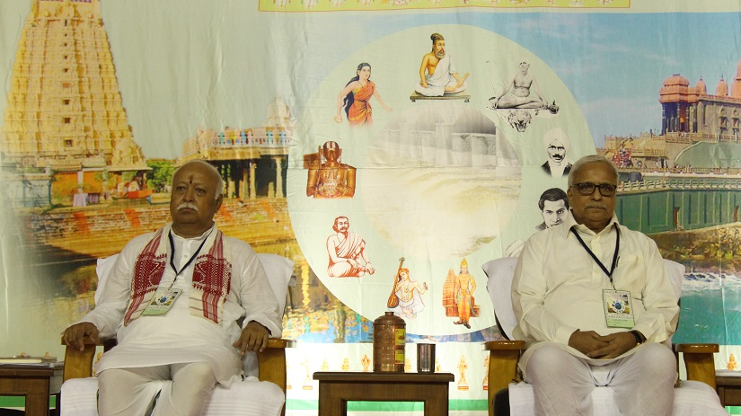RSS Sarsanghachalak Mohan Bhagwat and general secretary Suresh 'Bhaiyyaji' Joshi during inaugural session of Akhil Bharatiya Pratinidhi Sabha. Firstpost/ Debobrat Ghose