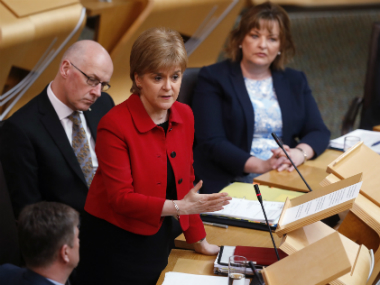 Scotland's First Minister Nicola Sturgeon attends a debate on a second referendum on independence at Scotland's Parliament in Holyrood, Edinburgh, Britain,