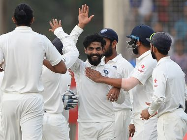Ravindra Jadeja took two wickets late on Day 4 to give India hopes of winning the Ranchi Test. AFP