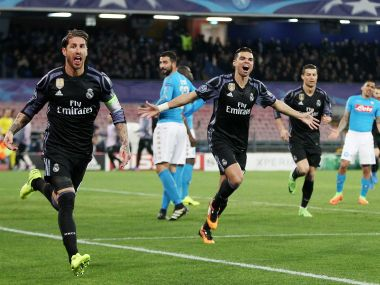 Sergio Ramos of Real Madrid celebrates scoring against Napoli. Getty