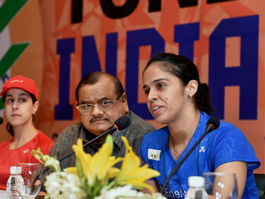 Saina Nehwal speaks with the media on the eve of the Superseries event in New Delhi. PTI