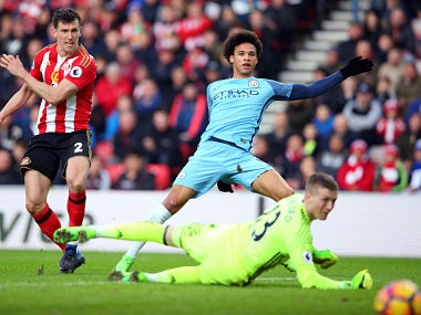 Leroy Sane scores Manchester City's second goal second goal against Sunderland. Getty