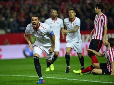 Sevilla's Vicente Iborra (L) celebrates after scoring against Athletic Bilbao. AFP