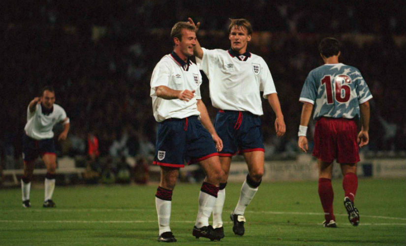 Alan Shearer (L) with Teddy Sheringham in England colours.