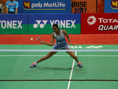 PV Sindhu in action against Arundhati Pantawane in the first round. Twitter: @BAI_media