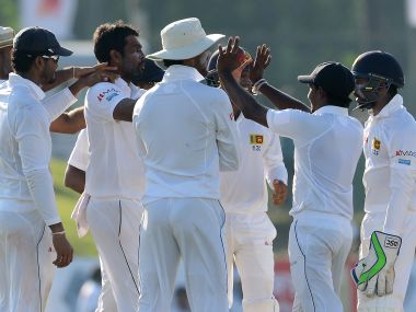Sri Lanka celebrate Bangladesh's wicket on Day 2. AFP