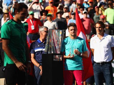 Stan Wawrinka and Roger Federer during the trophy presentation ceremony at Indian Wells. Getty