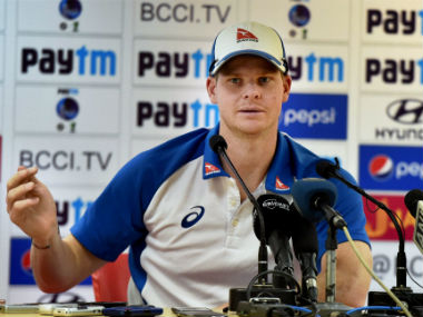 Steve Smith addresses the media after the fourth Test in Dharmasala. PTI