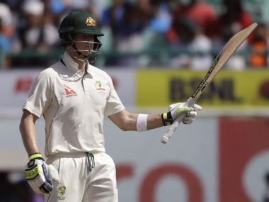 Steve Smith scored a brilliant hundred in Dharamsala on Day 1. AP