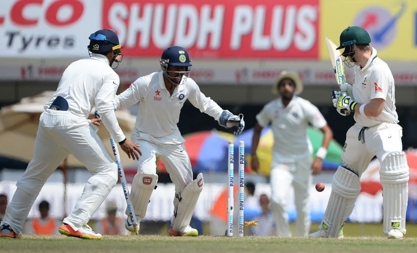Steve Smith loses his off stump off a Ravindra Jadeja delivery in the second innings in Ranchi. AFP