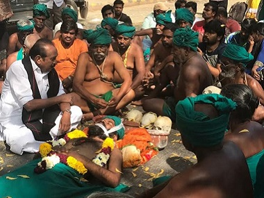 Farmers from Tamil Nadu protesting at Delhi's Jantar Mantar. Firstpost/TS Sudhir