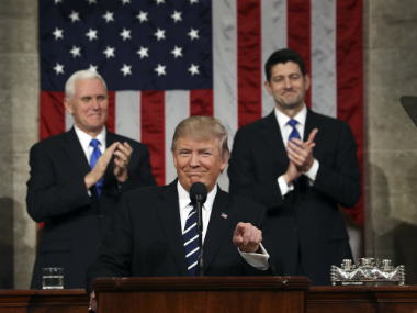 President Donald Trump addressing joint session of Congress. AP