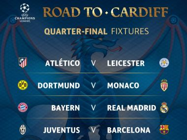 Quarterfinal draw of the Champions League. Twitter/ @ChampionsLeague