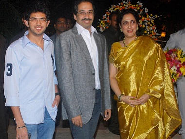 Shiv Sena chief Uddhav Thackeray with his wife Rashmi and son Aditya. Getty Images