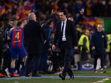 Paris Saint-Germain's coach Unai Emery after the Champions League loss against Barcelona. AFP
