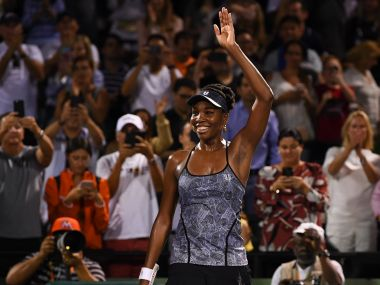 Venus Williams waves to the crowd after defeating Angelique Kerber at Miami Open. Getty