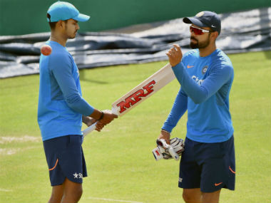 Virat Kohli and Shreyas Iyer train before the fourth Test in Dharmasala. PTI