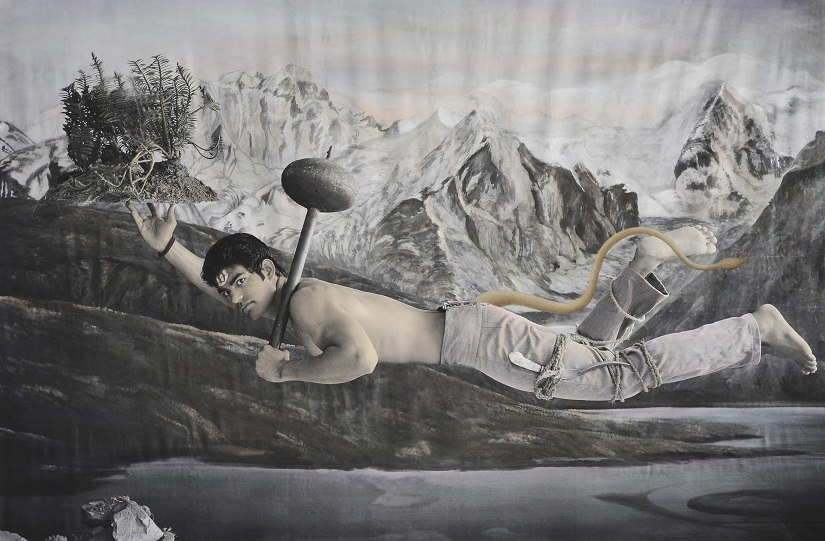Waswo X. Waswo (with Rajesh Soni) New Myths Second Incarnation, the First Hand-painted black and white digital print 2011 Courtesy Tasveer