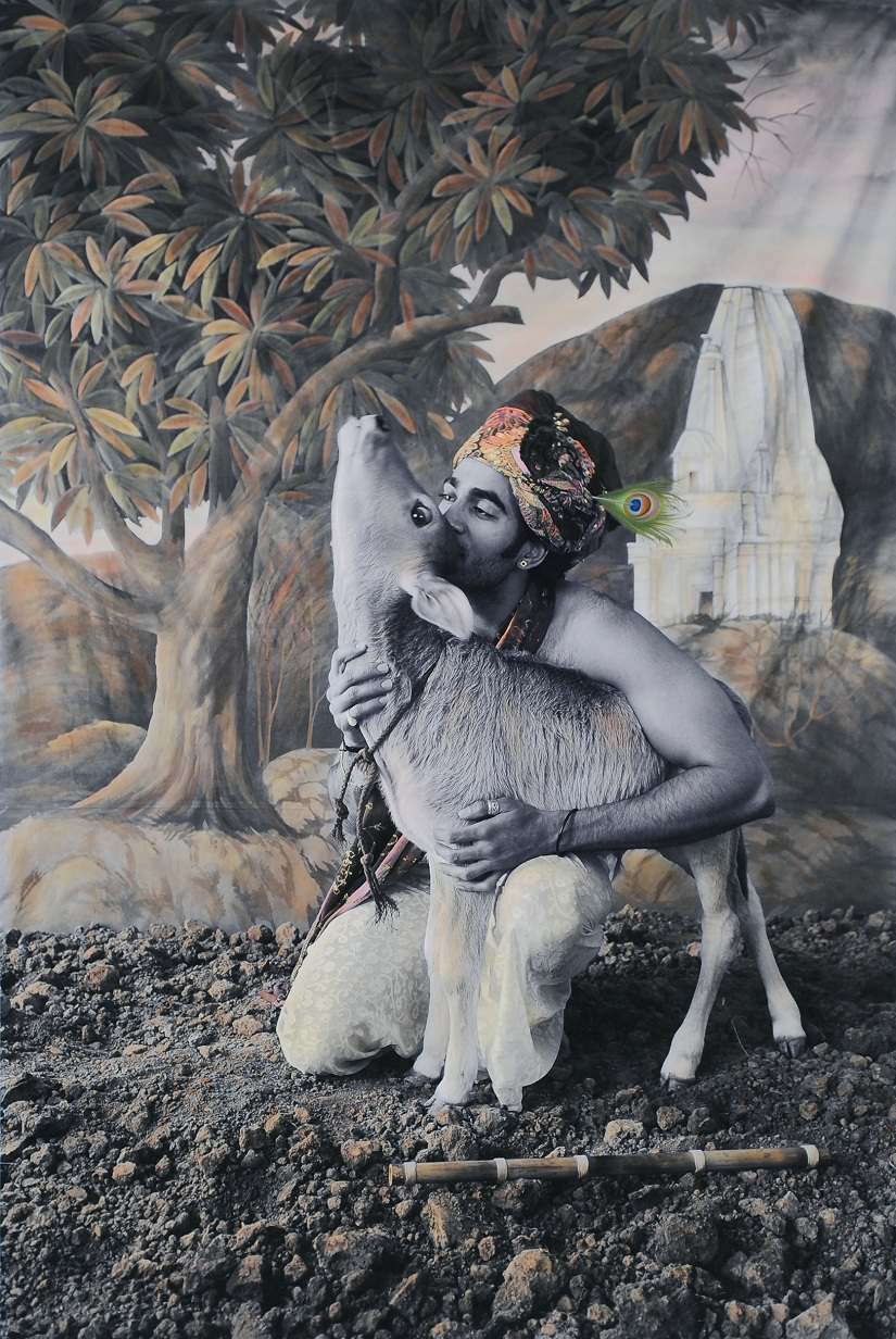 Waswo X. Waswo (with Rajesh Soni) New Myths First Incarnation, the Third Hand-painted black and white digital print 2009 Courtesy Tasveer