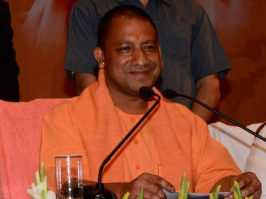 Yogi Adityanath during his first press conference as the chief minister of Uttar Pradesh. PTI