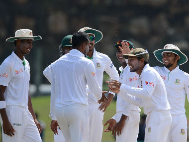 Bangladesh players celebrate after the dismissal of Sri Lanka's Asela Gunaratne during the Day 4 of the first Test in Galle. AFP