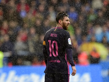 Barcelona's Lionel Messi looks on during the La Liga match against Deportivo la Coruna on Sunday. AFP