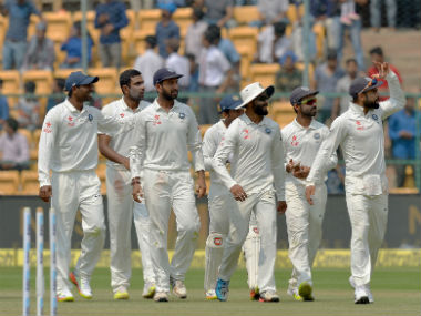 Indian players during the fourth day of the second Test against Australia in Bangalore. AFP