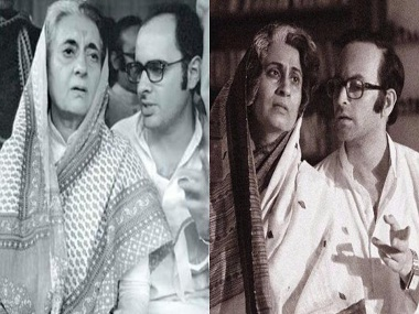 Left: Indira Gandhi and Sanjay Gandhi. Right: Supriya Vinod and Neil Nitin Mukesh. Twitter