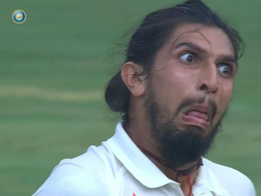 Ishant making a funny face during Day 2 of the Bengaluru Test against Austraia. Image courtesy: Twitter/ @CricketAus