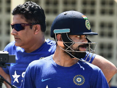 File photo of Indian coach Anil Kumble (L) and captain Virat Kohli. AFP