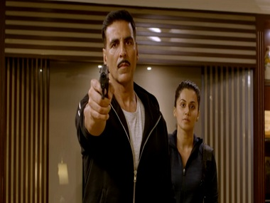 Akshay Kumar and Taapsee Pannu in a still from Naam Shabana. YouTube