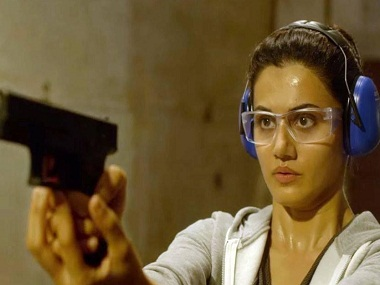 Taapsee Pannu in a still from Naam Shabana. News 18