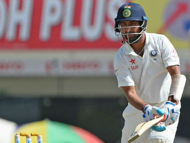 Cheteshwar Pujara slammed a century to guide India to 360/6 on Day 3. AFP